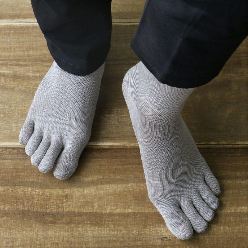 ホールガーメントシルク(絹)混5本指ソックス冷えとり靴下にも最適NAIGAICOMFORTナイガイコンフォートメンズレッグソリューション2300-516