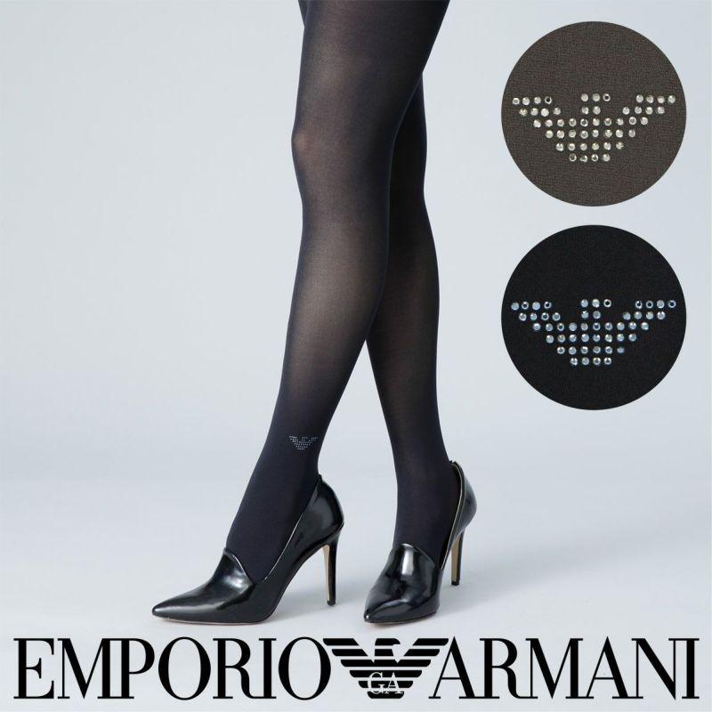 EMPORIOARMANI(エンポリオアルマーニ)レディス婦人スワロフスキー60デニール相当EAGLEクリスタルタイツ156-0321