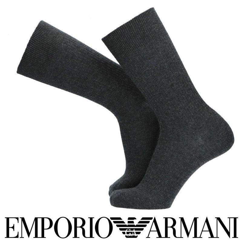 EMPORIOARMANIエンポリオアルマーニ日本製ドレスウール毛混リブクルー丈メンズ男性紳士ソックス靴下男性メンズプレゼント贈答ギフト02311509