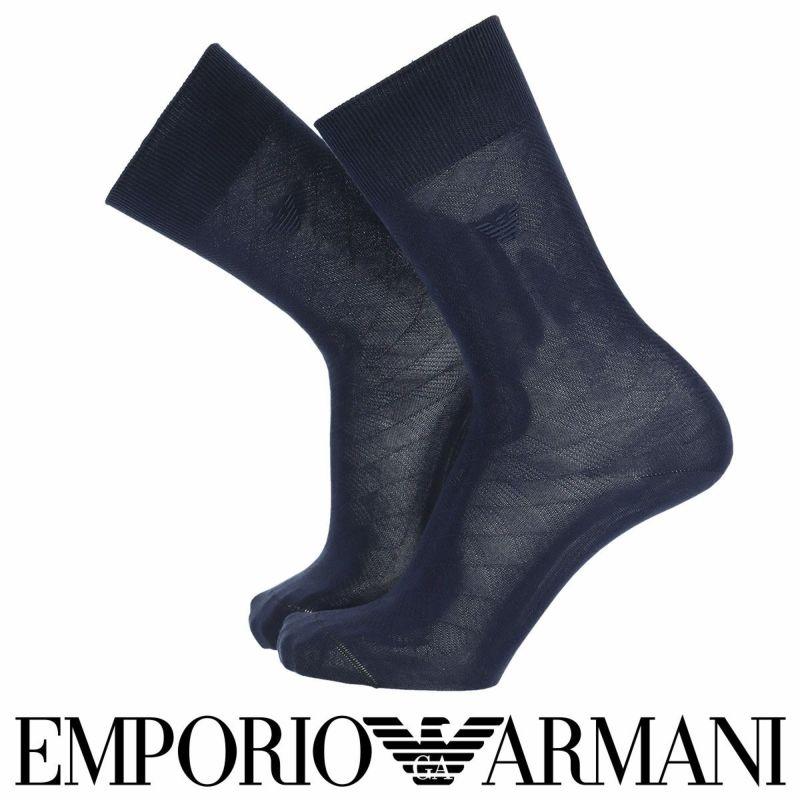 EMPORIOARMANIエンポリオアルマーニビジネスDressダイヤ&イーグル刺繍イタリア製高級綿糸「ZERO」使用クルー丈メンズ男性紳士ソックス靴下男性メンズプレゼント贈答ギフト02312461