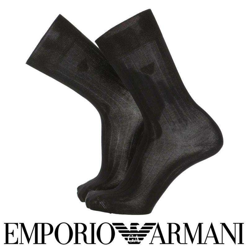 EMPORIOARMANIエンポリオアルマーニ日本製ビジネスDress光沢感・発色性に優れた連続シルケット加工糸使用綿混リブクルー丈メンズ男性紳士ソックス靴下男性メンズプレゼント贈答ギフト02312510
