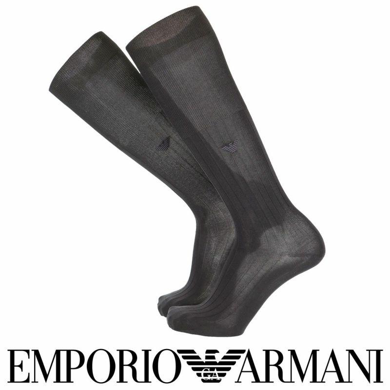 EMPORIOARMANIエンポリオアルマーニ日本製ハイソックスリブロングホーズメンズ男性紳士ソックス靴下男性メンズプレゼント贈答ギフト02312934