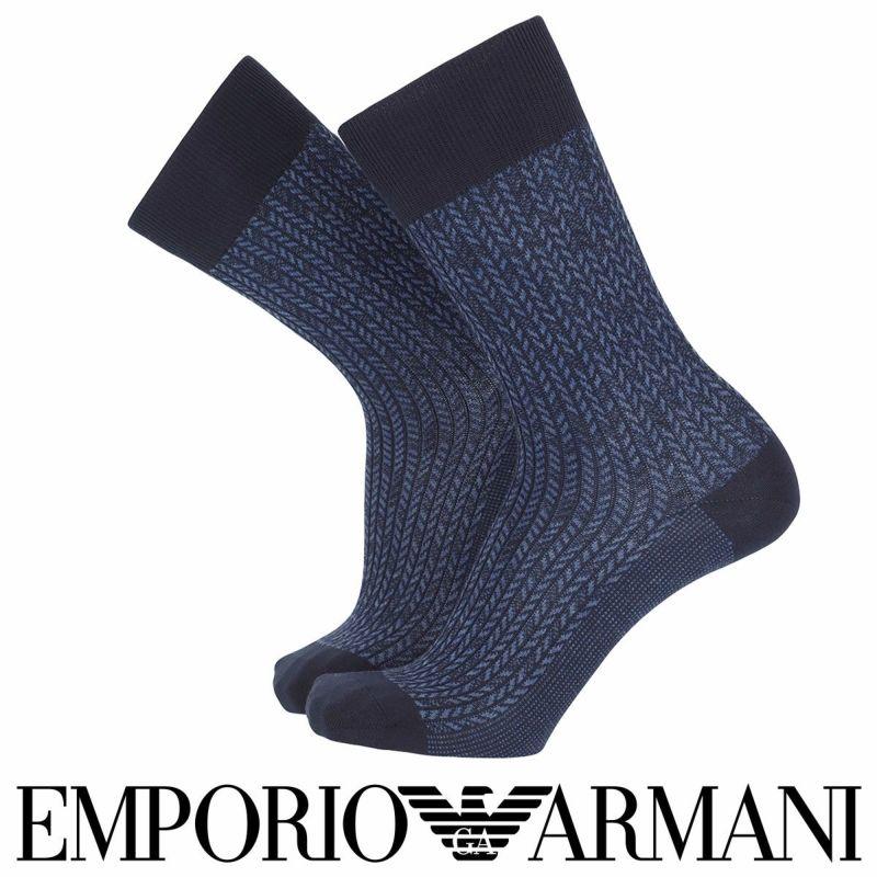 EMPORIOARMANIエンポリオアルマーニ日本製カジュアルジャカードメンズ男性紳士ソックス靴下男性メンズプレゼント贈答ギフト02341274