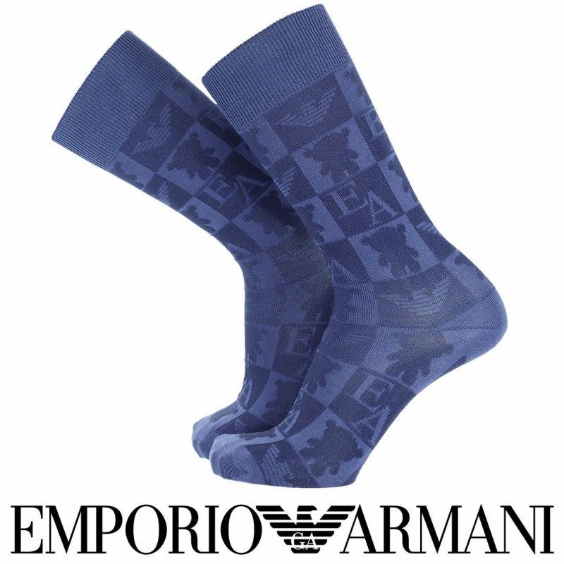 EMPORIOARMANIエンポリオアルマーニ日本製カジュアル綿混ベア&EAリンクスクルー丈メンズソックス靴下男性紳士プレゼント贈答ギフト02342320