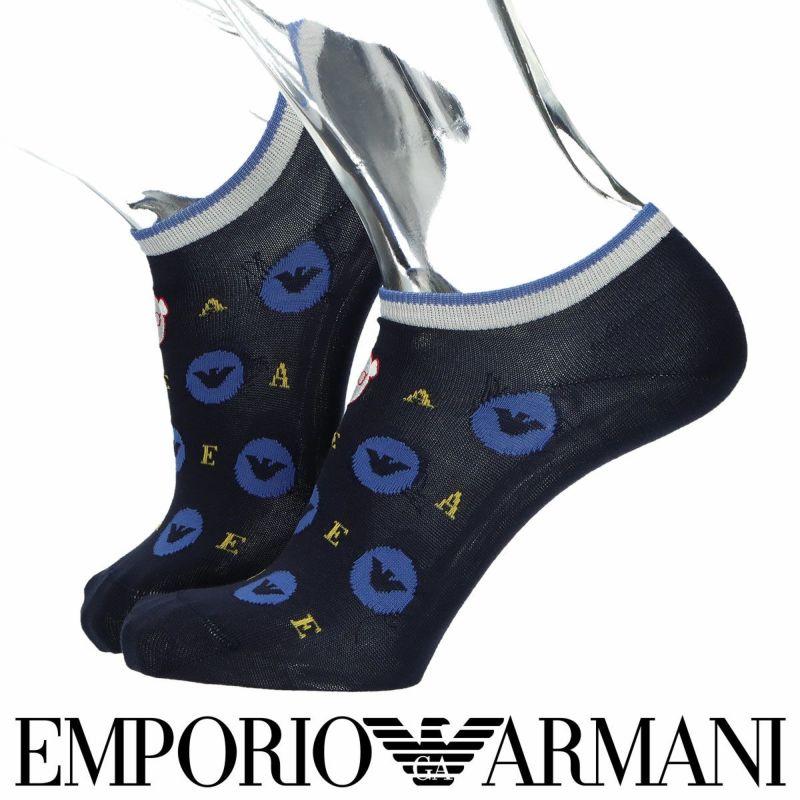 EMPORIOARMANIエンポリオアルマーニスーピマ綿使用ベアヘッド刺繍×イーグルサークルドットスニーカー丈メンズカジュアル靴下男性紳士プレゼントギフト02322288
