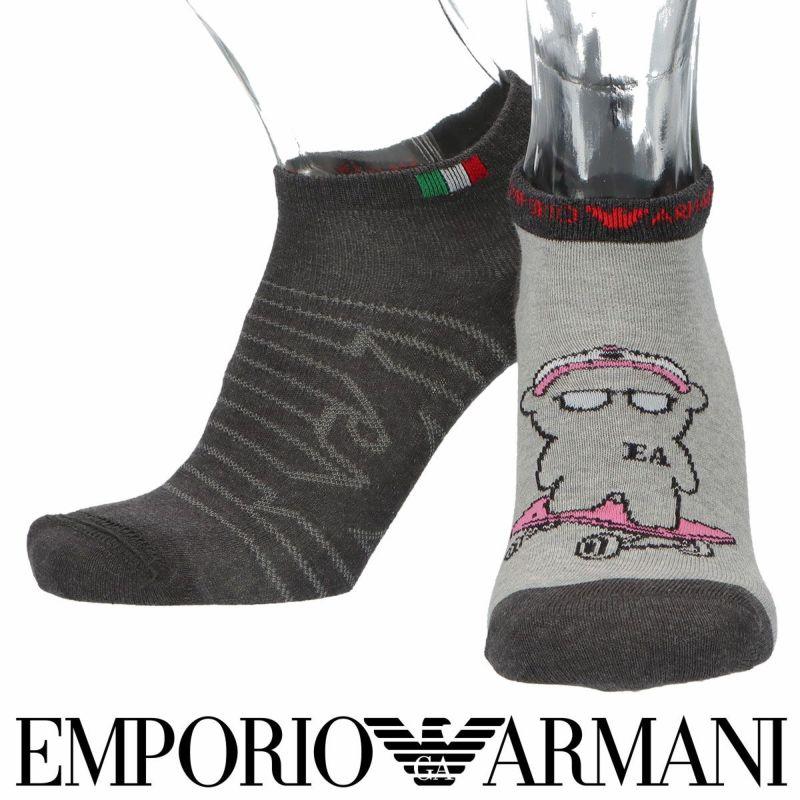 EMPORIOARMANIエンポリオアルマーニ日本製リバーシブルスケボーベア×イーグルスニーカー丈メンズソックス靴下男性紳士プレゼントギフト02322292