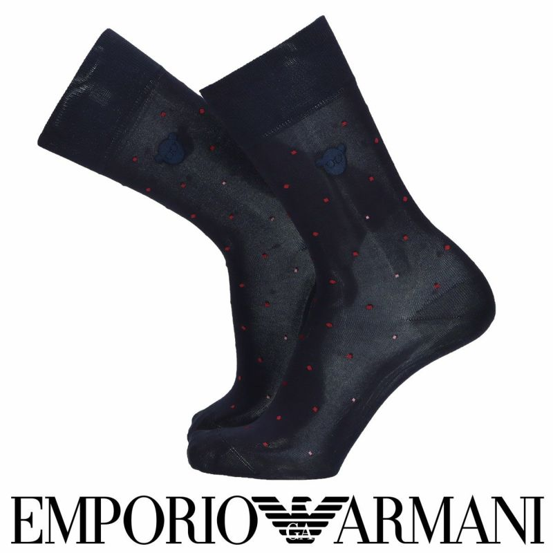EMPORIOARMANIエンポリオアルマーニ抗菌防臭エジプト綿使用ベアヘッドEMB&ドット柄クルー丈メンズビジネスソックス靴下男性紳士プレゼントギフト02312471