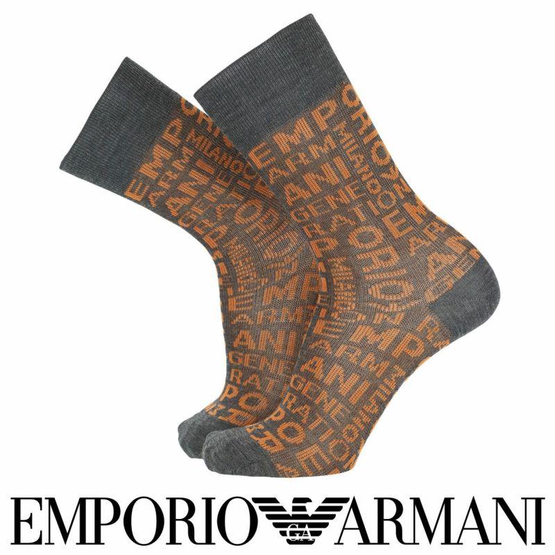 EMPORIOARMANIエンポリオアルマーニ日本製カジュアル毛混EAロゴジャカードクルー丈メンズ男性紳士ソックス靴下プレゼント贈答ギフト02345147