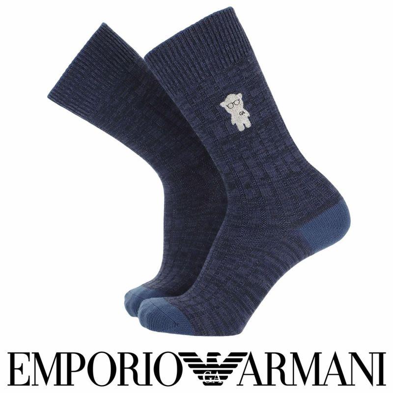 EMPORIOARMANIエンポリオアルマーニ日本製カジュアル毛混マンガベア刺繍リブクルー丈メンズ男性紳士ソックス靴下プレゼント贈答ギフト02345145