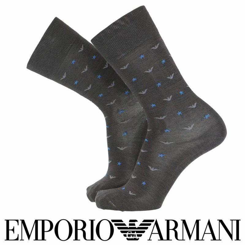 EMPORIOARMANIエンポリオアルマーニカジュアルスーピマ綿使用イーグル&スタークルー丈メンズ男性紳士ソックス靴下プレゼント贈答ギフト02342337