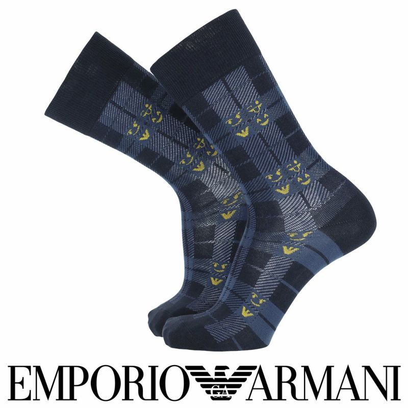 EMPORIOARMANIエンポリオアルマーニ日本製カジュアル綿混EMOJI&チェッククルー丈メンズ男性紳士ソックス靴下プレゼント贈答ギフト02342338