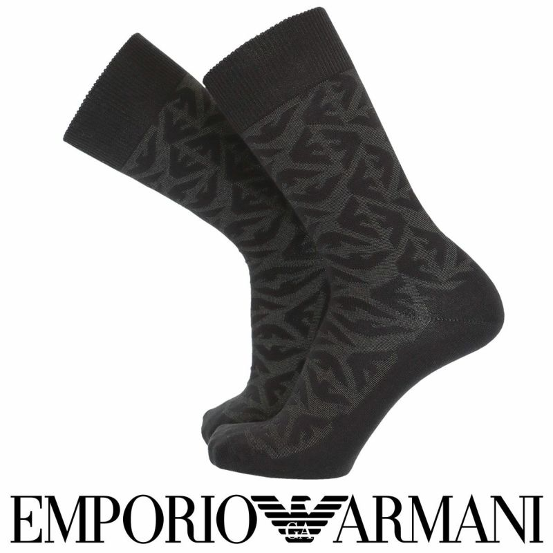 EMPORIOARMANIエンポリオアルマーニ日本製カジュアル毛混イーグル総柄リンクスクルー丈メンズソックス男性紳士靴下プレゼント贈答ギフト02345140