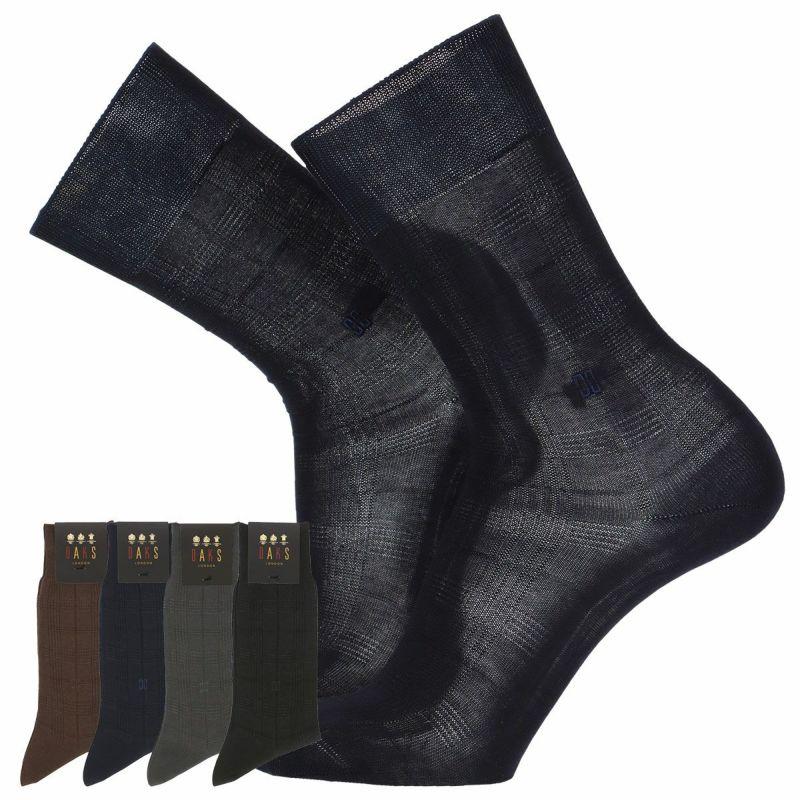 DAKSダックス日本製Dressビジネス綿100%ワンポイントロゴ刺繍リンクス格子柄クルー丈メンズソックスプレゼント贈答ギフト02502376