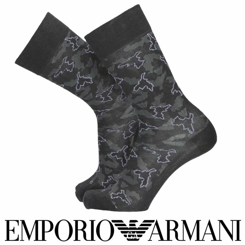 EMPORIOARMANIエンポリオアルマーニ日本製綿混ネオンカモフラクルー丈メンズカジュアルソックス靴下男性紳士プレゼントギフト02342352