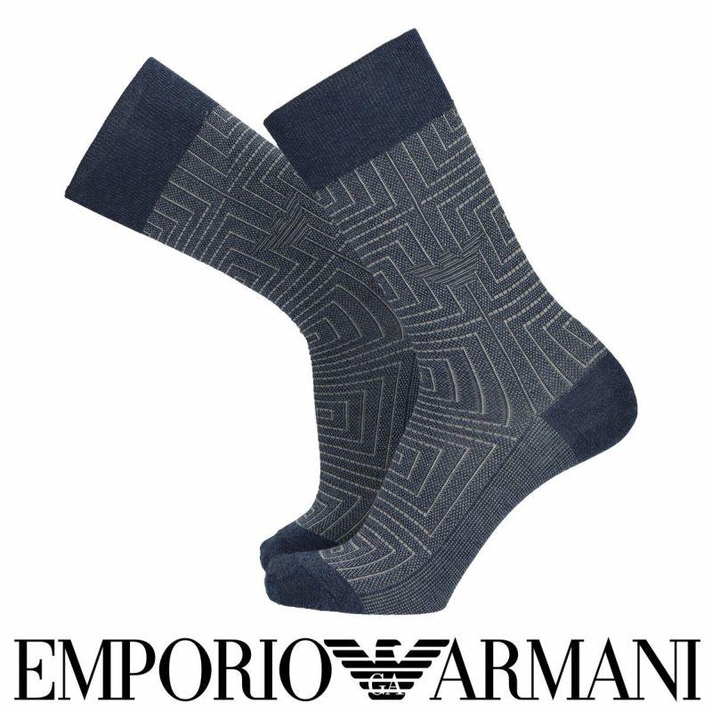 EMPORIOARMANIエンポリオアルマーニ日本製綿混クロス&イーグル柄クルー丈メンズビジネスソックス靴下男性紳士プレゼントギフト02342353