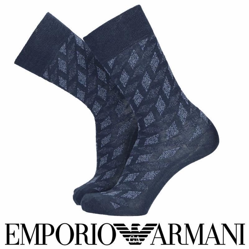 EMPORIOARMANIエンポリオアルマーニ日本製イタリア糸使用リネン×エジプト綿カスリ&ブークレー柄クルー丈メンズカジュアルソックス靴下男性紳士プレゼントギフトバレンタイン02346012