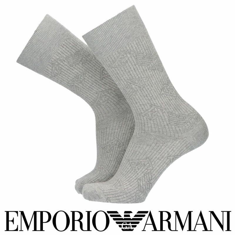 EMPORIOARMANIエンポリオアルマーニ日本製綿混EAロゴリンクスクルー丈メンズカジュアルソックス靴下男性紳士プレゼントギフト02342340