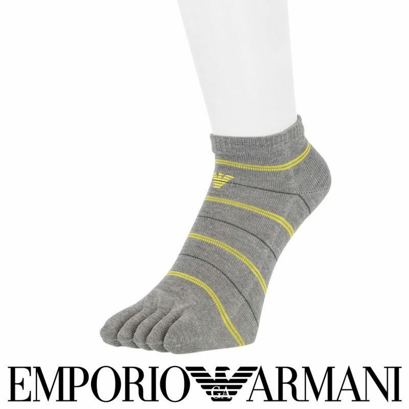 EMPORIOARMANIエンポリオアルマーニ日本製綿混5本指ボーダーショート丈メンズ男性紳士ソックス靴下男性メンズプレゼント贈答ギフト02322802