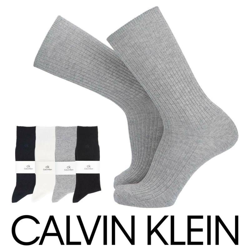 CalvinKleinカルバンクライン綿混毛混ワンポイントクルー丈メンズソックス男性靴下プレゼント贈答ギフト02542191