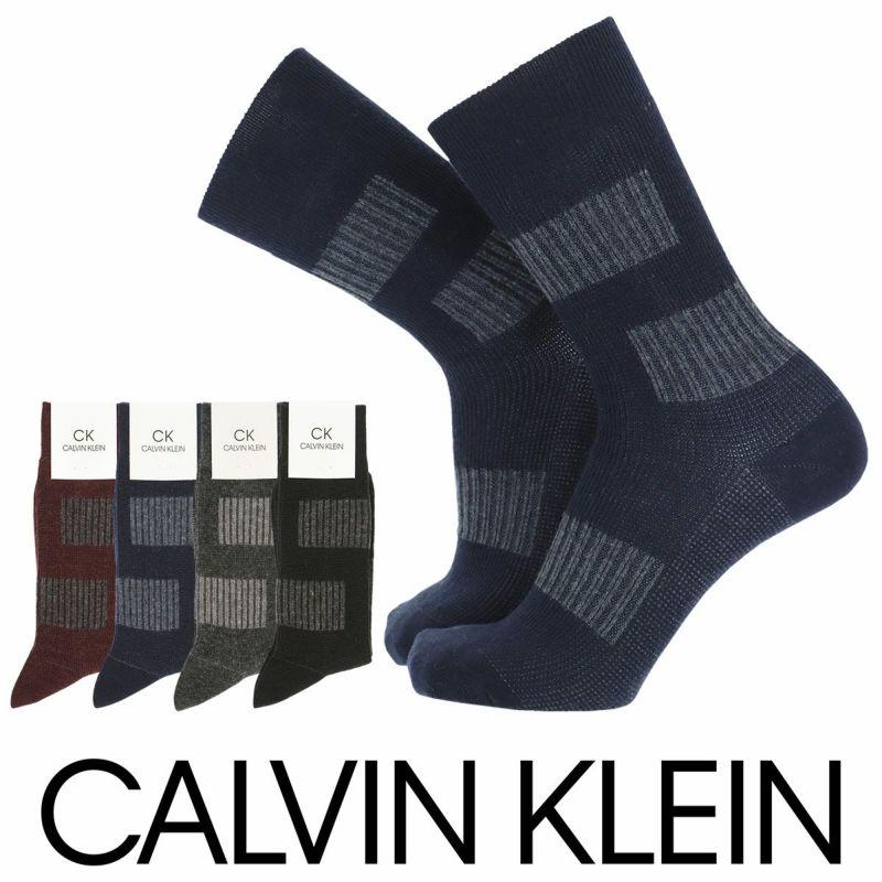 CalvinKleinカルバンクライン日本製カジュアルラムウール混ニット風切替ブロック柄クルー丈メンズソックスプレゼント贈答ギフト02545302