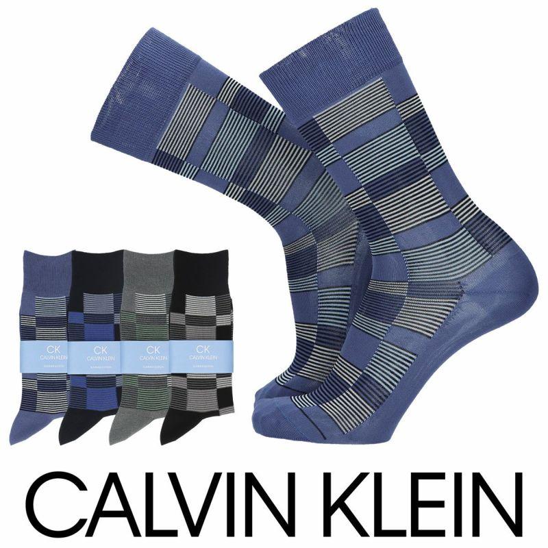 CalvinKleinカルバンクライン強撚綿混KJ変形ブロック柄クルー丈メンズカジュアルソックス靴下男性紳士プレゼントギフトバレンタイン02542202