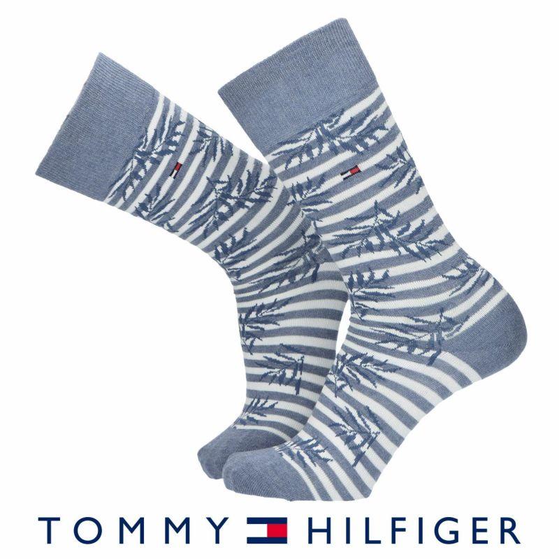 TOMMYHILFIGERトミーヒルフィガー日本製ボーダー&リーフクルー丈メンズビジネスソックス靴下男性紳士プレゼントギフトバレンタイン02552602