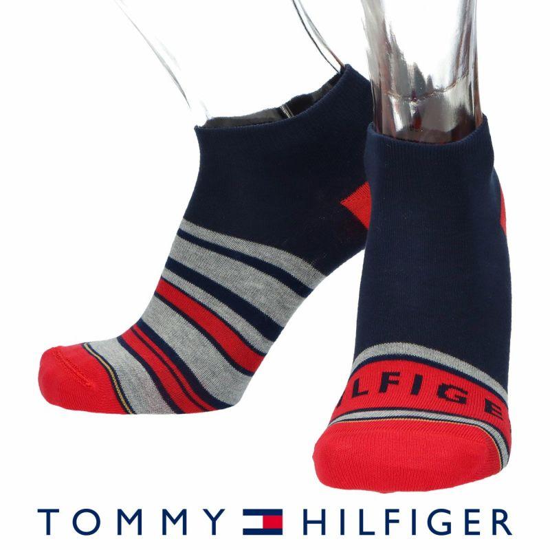 TOMMYHILFIGERトミーヒルフィガー日本製リバーシブルボーダー×THロゴスニーカー丈メンズカジュアル靴下男性紳士プレゼントギフトバレンタイン02552402