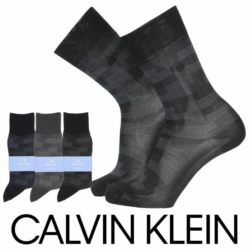 CalvinKlein(カルバンクライン)ビジネスドレスブロック柄サマーコットン使用クルー丈メンズ紳士ソックス靴下男性メンズプレゼント贈答ギフト2562-269