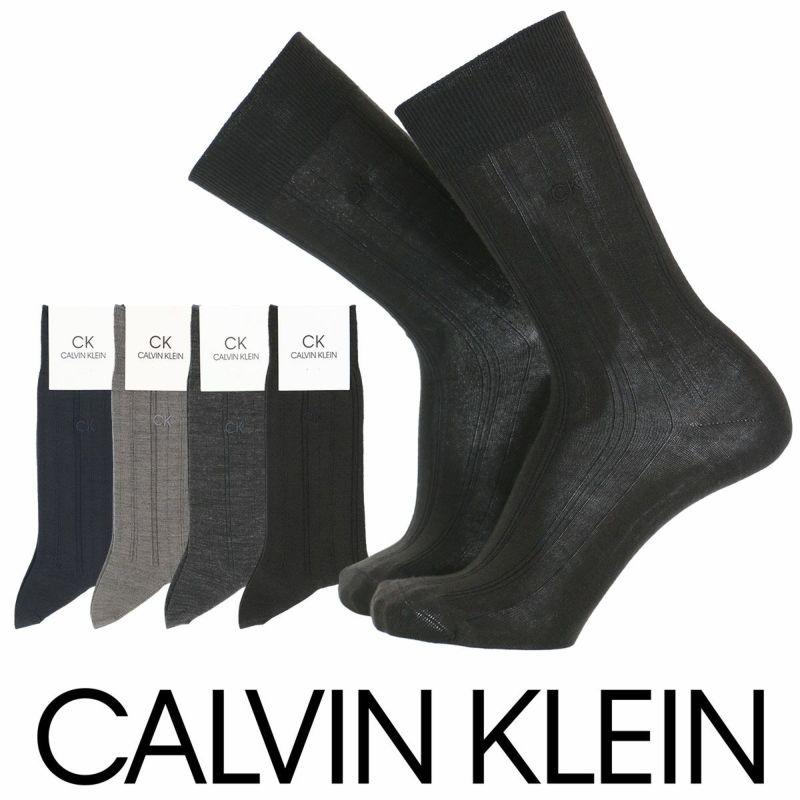 CalvinKlein(カルバンクライン)Dressメンズソックス抗菌防臭毛混変形リブ柄クルー丈ソックスメンズビジネス靴下男性メンズプレゼント贈答ギフト2565-566ポイント10倍
