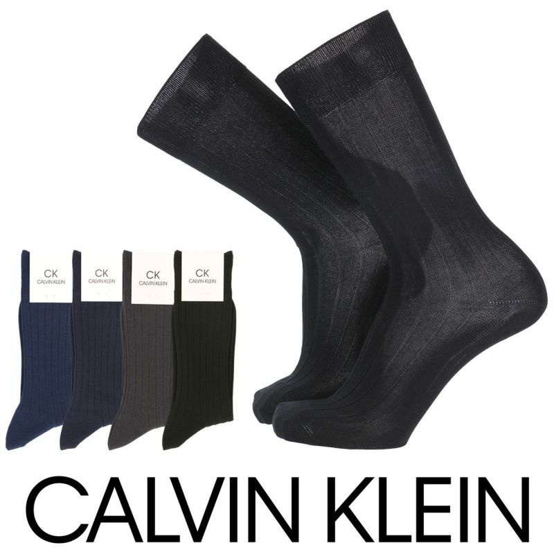 CalvinKlein(カルバンクライン)ビジネスドレス踵フィット設計リブ編み抗菌防臭クルー丈メンズ紳士ソックス靴下日本製男性メンズプレゼント贈答ギフト2562-230