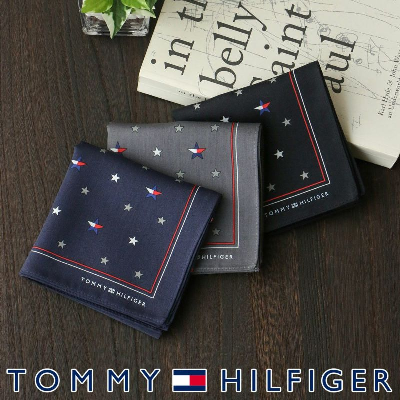 TOMMYHILFIGERトミーヒルフィガー綿100%ハンカチ星フラッグプレゼント贈答ギフト02582158