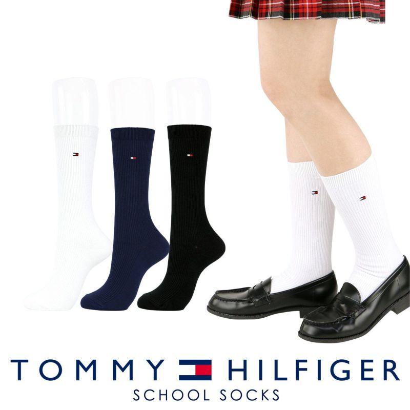 TOMMYHILFIGER|トミーヒルフィガースクールソックスワンポイント刺繍28cm丈レディスハイソックス靴下3481-410ポイント10倍