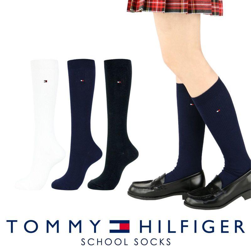 TOMMYHILFIGER トミーヒルフィガースクールソックスワンポイント刺繍36cm丈レディスハイソックス靴下3481-412