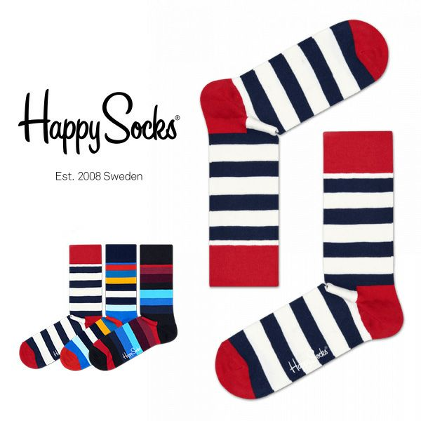HappySocksハッピーソックスSTRIPE(ストライプ)クルー丈綿混ソックス靴下ユニセックスメンズ&レディス1A110004
