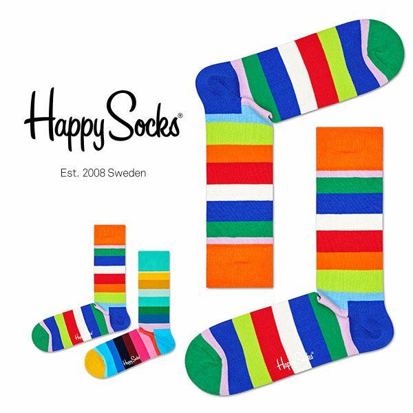 HappySocksハッピーソックスSTRIPE(ストライプ)クルー丈綿混ソックス靴下ユニセックスメンズ&レディス1A113030