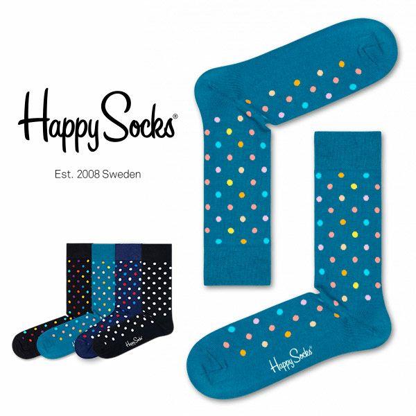 【送料無料+ポイント20倍】HappySocksハッピーソックスESSENTIALS-DOT(エッセンシャルズドット)クルー丈綿混ソックス靴下ユニセックスメンズ&レディス1A113040ホワイトデーお返しプレゼント