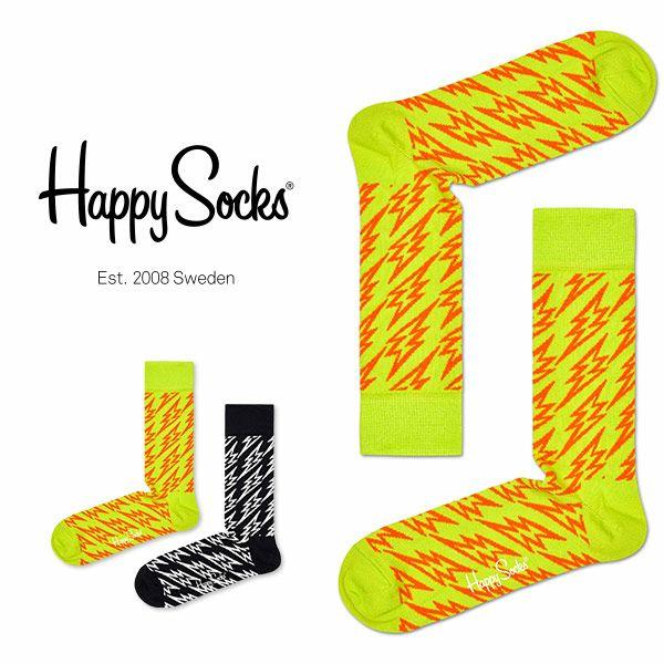 【ポイント10倍】HappySocksハッピーソックスFLASHLIGHTNING(フラッシュライトニング)クルー丈綿混ソックス靴下ユニセックスメンズ&レディスプレゼント贈答ギフト1A113054