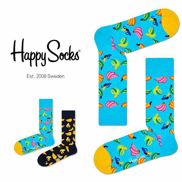【ポイント10倍】HappySocksハッピーソックスBANANA(バナナ)クルー丈綿混ソックス靴下ユニセックスメンズ&レディスプレゼント贈答ギフト1A113056