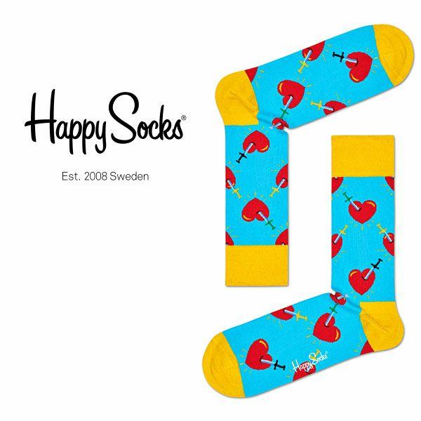 【ポイント10倍】HappySocksハッピーソックスBROKENHEART(ブロークンハート)クルー丈綿混ソックス靴下ユニセックスメンズ&レディスプレゼント贈答ギフト1A113078
