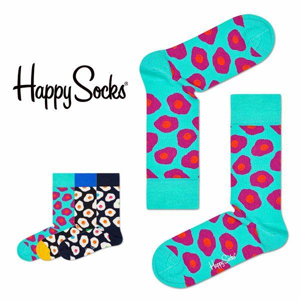 【ポイント20倍】HappySocksハッピーソックスSUNNYSIDEUP(サニーサイドアップ)クルー丈綿混ソックス靴下ユニセックスメンズ&レディスプレゼント贈答ギフト1A117012