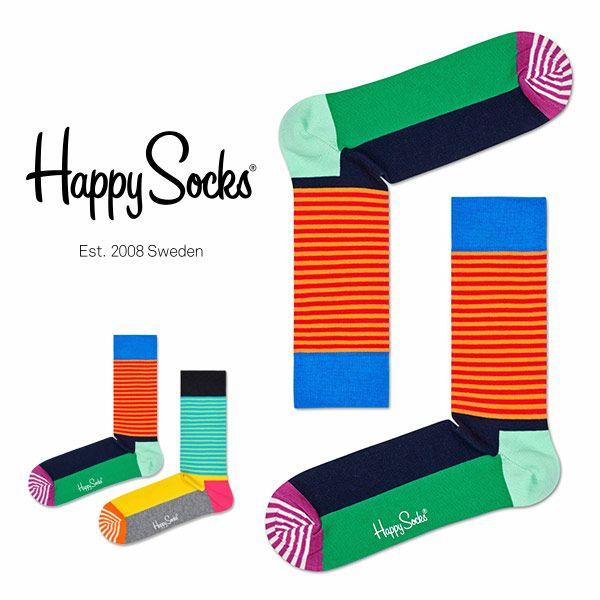 【ポイント20倍】HappySocksハッピーソックスHALFSTRIPE(ハーフストライプ)クルー丈綿混ソックス靴下ユニセックスメンズ&レディスプレゼント贈答ギフト1A117022