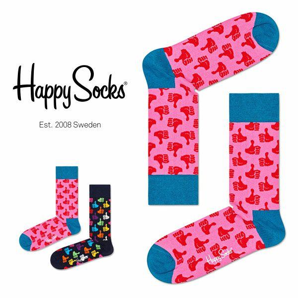 【ポイント20倍】HappySocksハッピーソックスTHUMBSUP(サムズアップ)クルー丈綿混ソックス靴下ユニセックスメンズ&レディスプレゼント贈答ギフト1A117041
