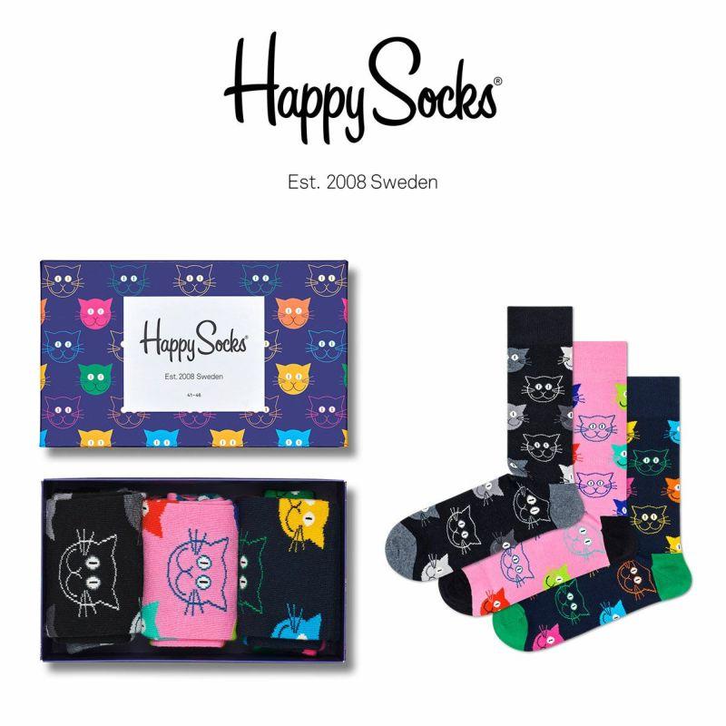 HappySocksハッピーソックスMIXEDCAT(ミックスドキャット)3足組ギフトセット綿混クルー丈ソックス靴下GIFTBOXユニセックスメンズ男性紳士プレゼントギフト10140001