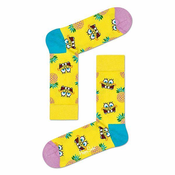 ハッピーソックス【Limited】HappySocks×SpongeBob(スポンジ・ボブ)FINEAPPLESURPRISE(ファイナップルサプライズ)クルー丈ソックス靴下ユニセックスメンズ&レディスプレゼント贈答ギフト1A413008ポイント10倍