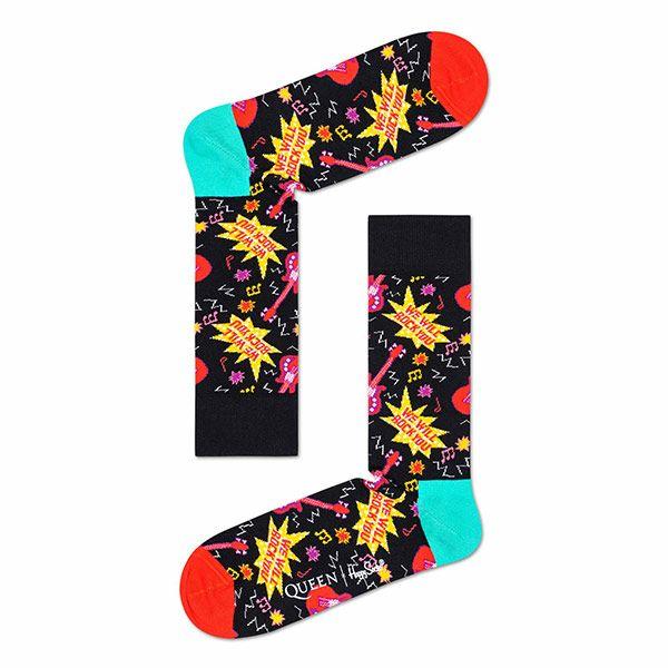 HappySocksハッピーソックス【Limited】HappySocks×QUEEN(クイーン)WEWILLROCKYOU(ウィ・ウィル・ロック・ユー)クルー丈ソックス靴下ユニセックスプレゼント贈答ギフト1A413015