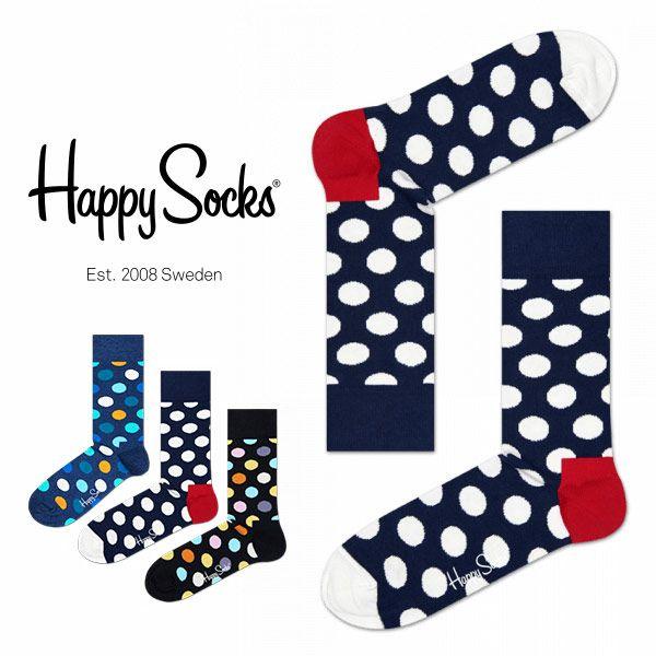 HappySocksハッピーソックスBIGDOT(ビッグドット)クルー丈綿混ソックス靴下ユニセックスメンズ&レディス1A110001