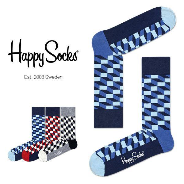 HappySocksハッピーソックスFILLEDOPTIC(フィルドオプティック)クルー丈綿混ソックス靴下ユニセックスメンズ&レディス1A110003