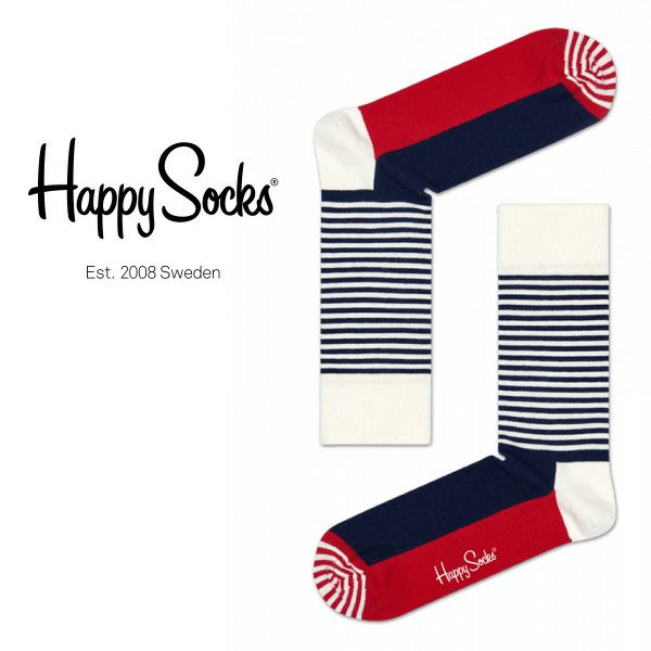 HappySocksハッピーソックスHALFSTRIPE(ハーフストライプ)クルー丈綿混ソックス靴下ユニセックスメンズ&レディス1A110005