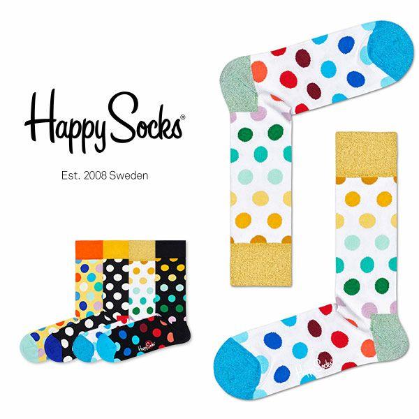 HappySocksハッピーソックスBIGDOT(ビッグドット)クルー丈綿混ソックス靴下ユニセックスメンズ&レディス1A113005