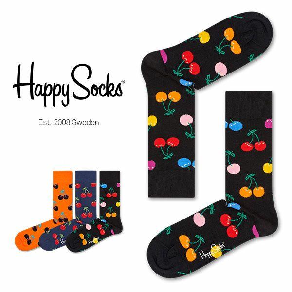 HappySocksハッピーソックスCHERRY(チェリー)クルー丈綿混ソックス靴下ユニセックスメンズ&レディス1A113037